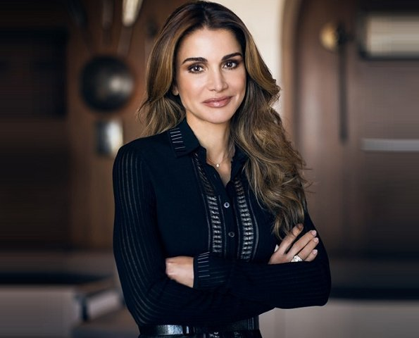 Queen Rania of Jordan's most memorable outfits, style and fashion. Balmain skirt, Valentino gown and Dior blouse