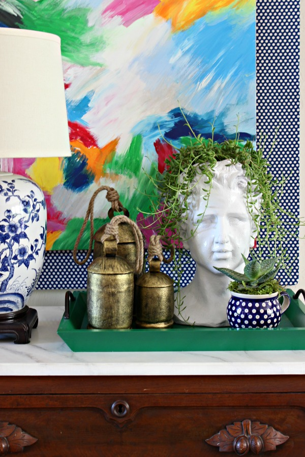 diy, abstract art, styling, vignette, polish pottery, head planter, blue and white