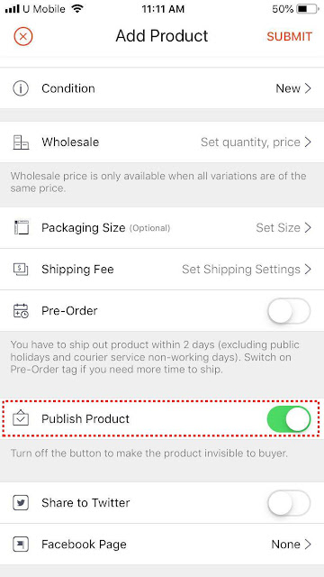 Shopee publish product