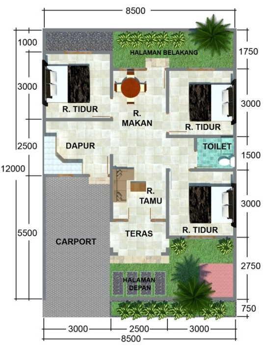 Contoh Denah Rumah Sederhana 3 Kamar Tidur Rumahmurah Id