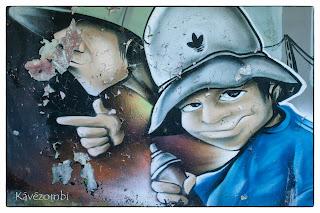 sapkás graffitis arc Szegeden