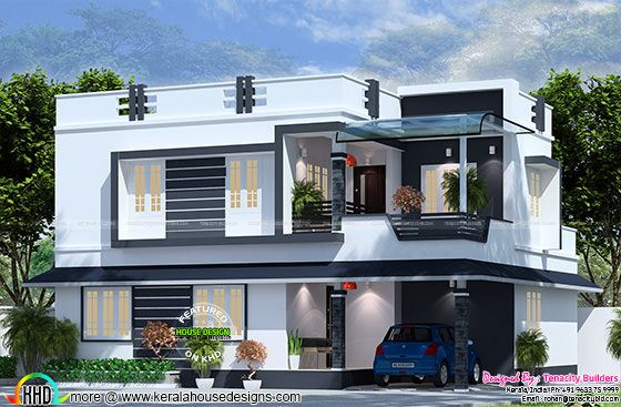2175 sq-ft flat roof house plan