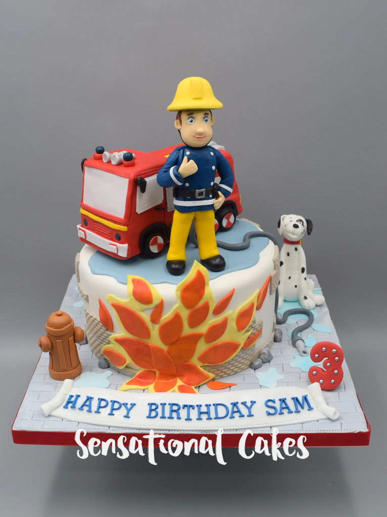 The Sensational Cakes Fireman Truck With Pet Puppy 3d Customized