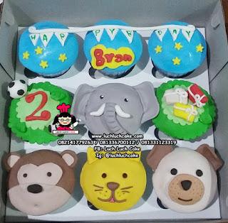 Cupcake Binatang (FONDANT 2D)