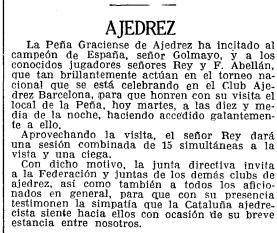 Recorte de La Vanguardia sobre el Torneo Nacional de Ajedrez Barcelona 1926, 5/10/1926 (continuación)