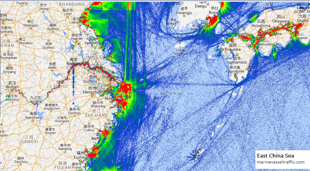 Ship Traffic Map.East China Sea Ship Traffic Tracker Marine Vessel Traffic