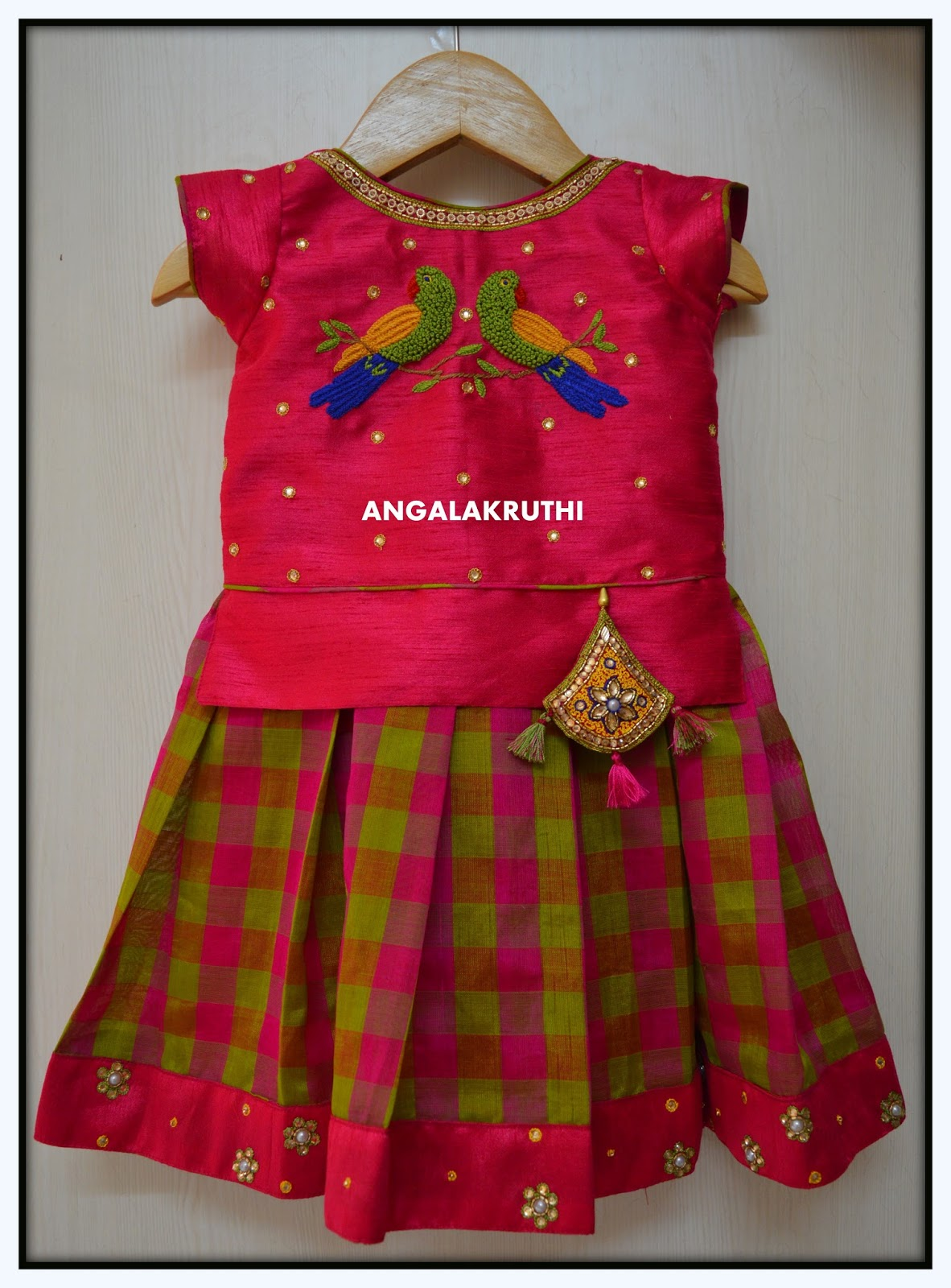 Kids Pattu Lehenga With Hand Embroidery Designs Parrot Hand