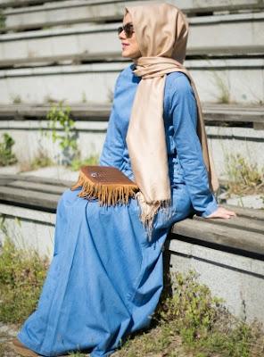 Model Baju Muslim Gamis Bahan Jeans Terbaru