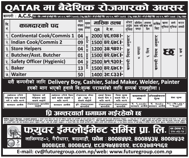 Jobs in Qatar for Nepali, Salary Rs 71,130