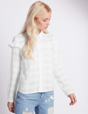 Marks and Spencer Checked Frill Blouse