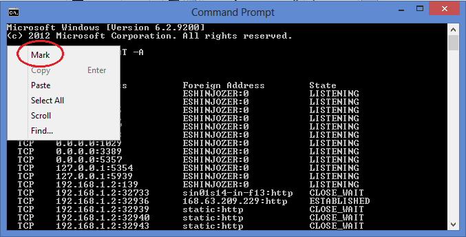 METHOD TO COPY FROM COMMAND PROMPT