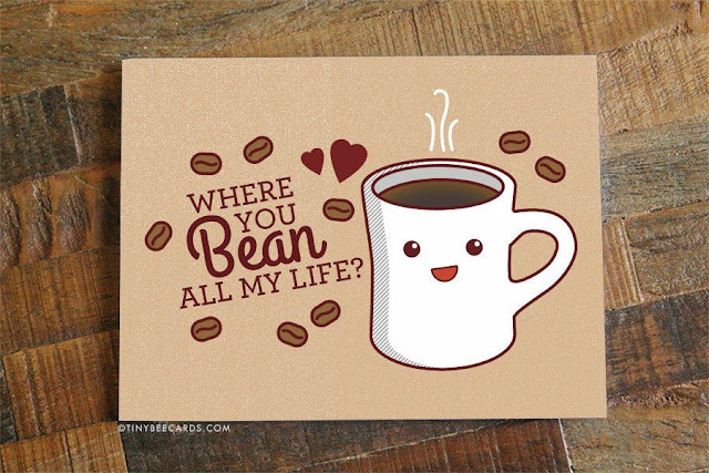 Food-Themed Valentine's Day Cards -- Coffee Beans