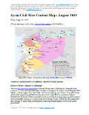 Map of fighting and territorial control in Syria's Civil War (Free Syrian Army rebels, Kurdish YPG, Al-Nusra Front, Islamic State (ISIS/ISIL), and others), updated for August 2015. Highlights recent locations of conflict and territorial control changes, such as Ayn Issa, Sarrin, Hasakah, Mansour, Frikka, Elbeyli, Qaryatain, and more.