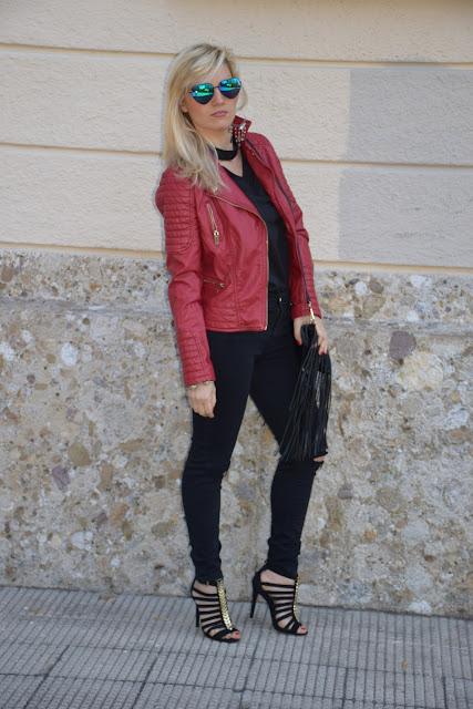 come abbinare la giacca di pelle rossa red leather jacket how to wear red leather jacket outfit maggio 2017 mariafelicia magno fashion blogger colorblock by felym fashion blog italiani fashion blogger italiane blog di moda
