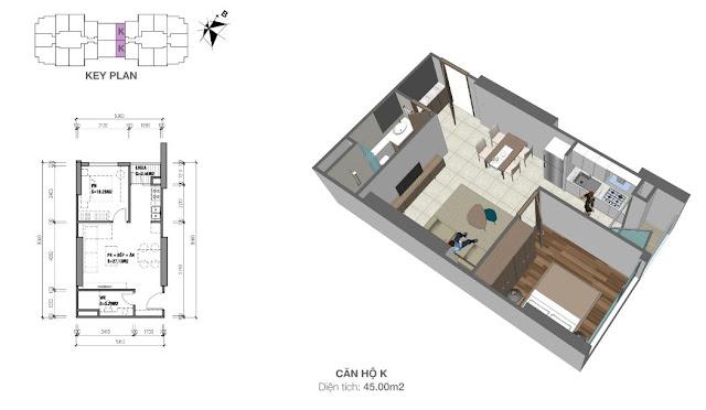 Thiết kế căn hộ 45m2 (thông thủy) với 01 phòng ngủ tại Eco Dream
