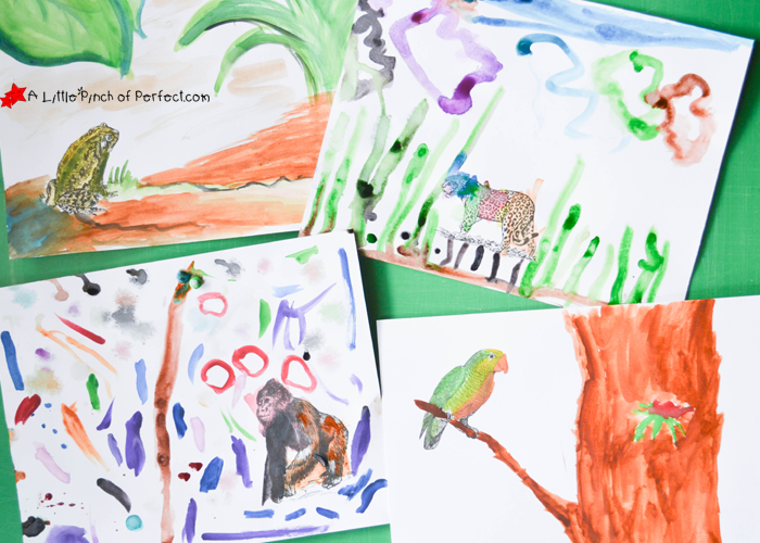 Nature art activities, animal habitat prompts,