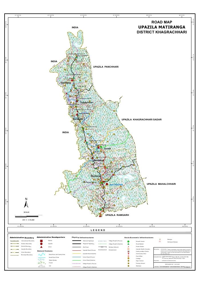 Matiranga Upazila Road Map Khagrachari District Bangladesh