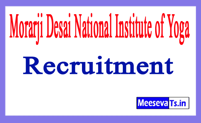 Morarji Desai National Institute of Yoga MDNIY Recruitment