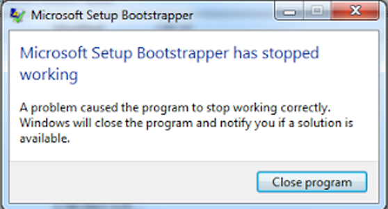 Mengatasi Gagal Install Microsoft Office Setup Bootstrapper Has Stopped Working