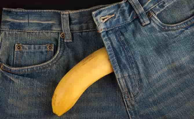 Jeans, plátano, frutas