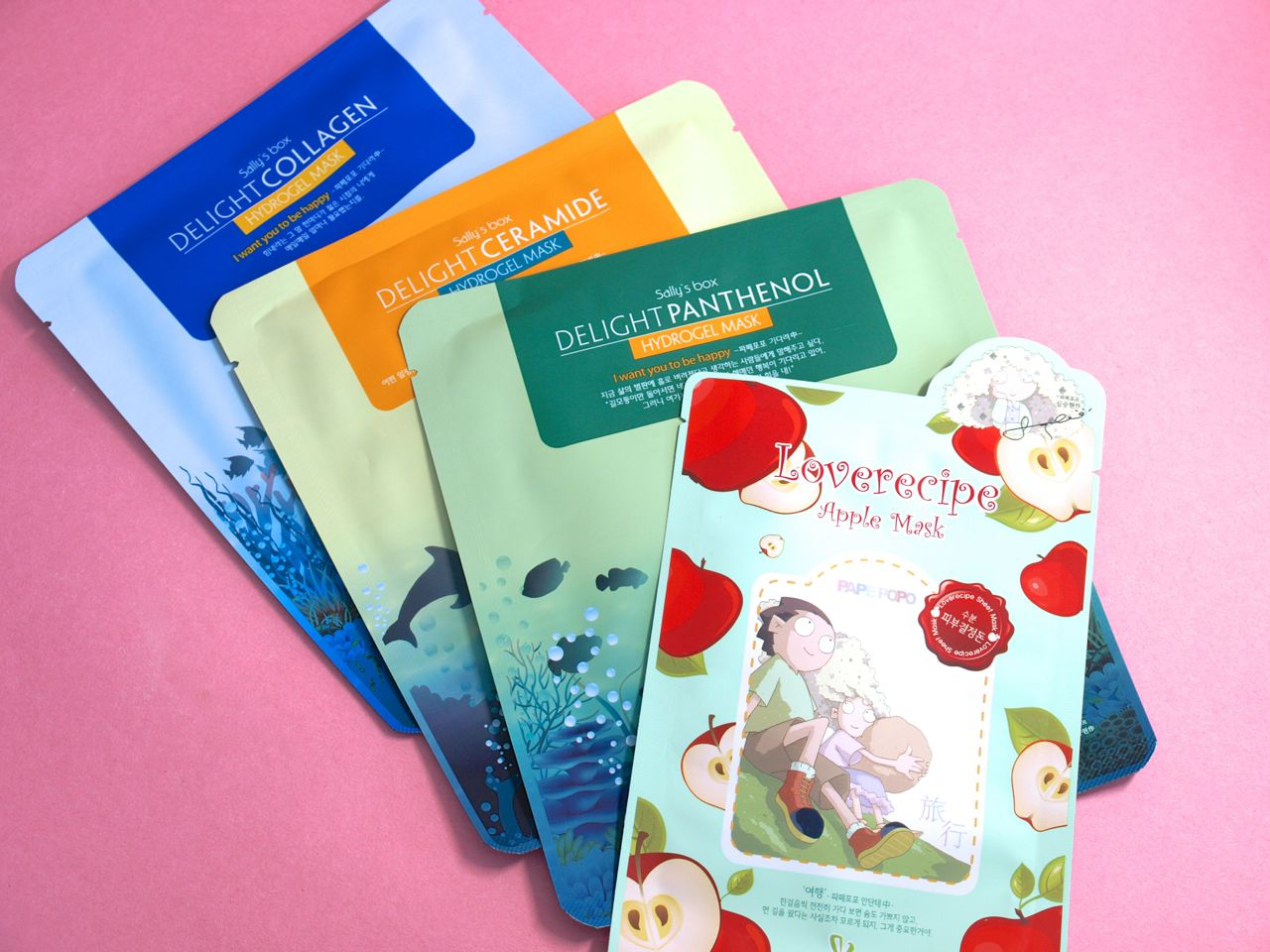9cb8479f04f Full Size  Sally s Box 4SET Face Mask Pack ( 14) This set has four  individual masks  Love Recipe Apple Mask  This is a traditional sheet mask.