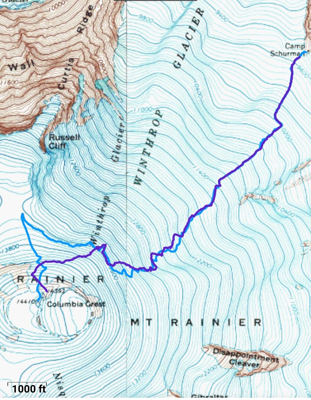 light blue indicates the most recent route to the winthrop saddle