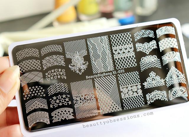 Flower Stamping Nailart Using Beautybigbang Rectangular Flower Theme Stamping Plate.. (video inside)