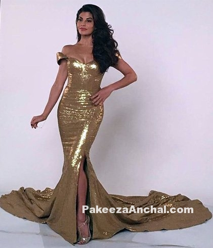 Jacqueline Fernandez in a Golden Mermaid Dress