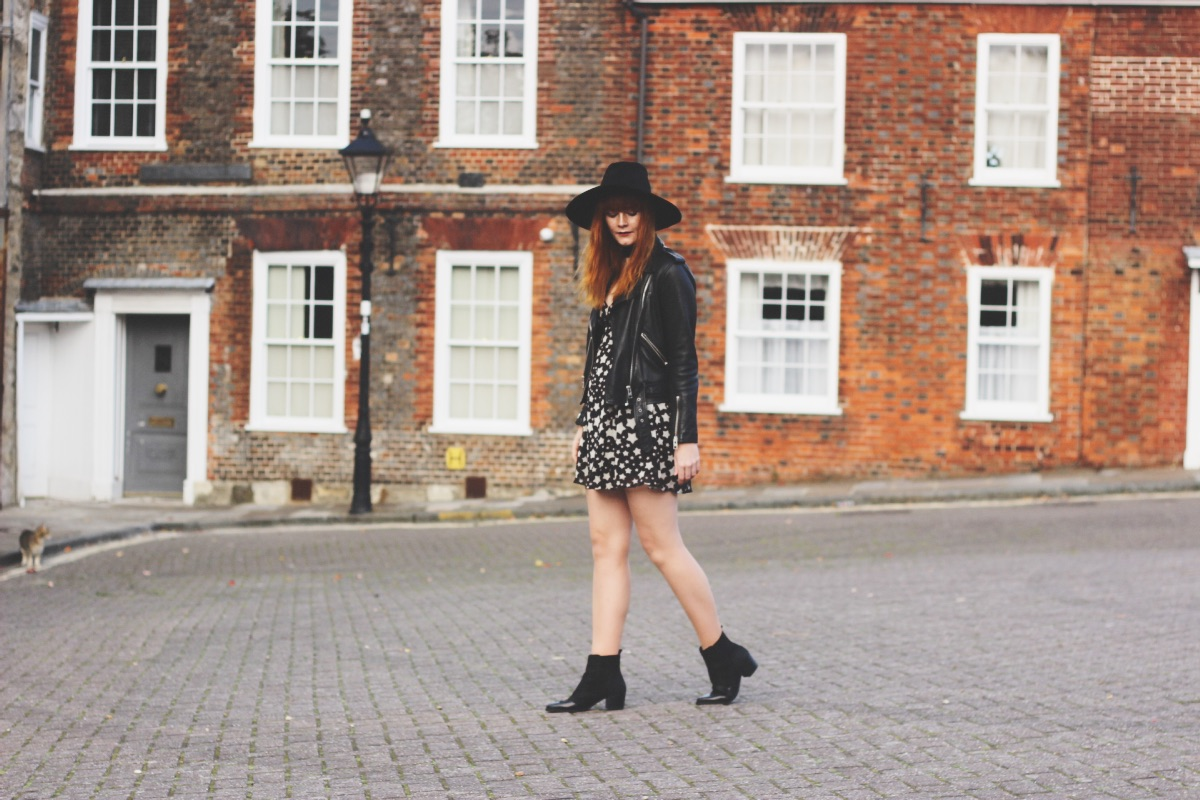 UK Fashion Blogger Red Hair Leather AllSaints Biker Jacket Star Dress