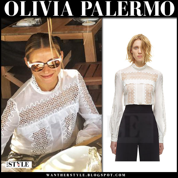 Olivia Palermo in white lace high neck self portrait blouse and mirrored sunglasses westward leaning vanguard what she wore