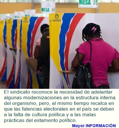 """El Sindicato de Trabajadores de la Registraduria Nacional. SE PRONUNCIA ACERCA DE LAS """"RECOMENDACIO"""