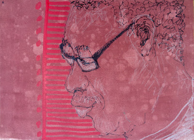 Portrait of Titus Ogunniyi, Sharpie marker and China marker in 9x12 sketchbook