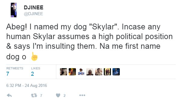 DJjinee tweets on Buhari dog-naming saga
