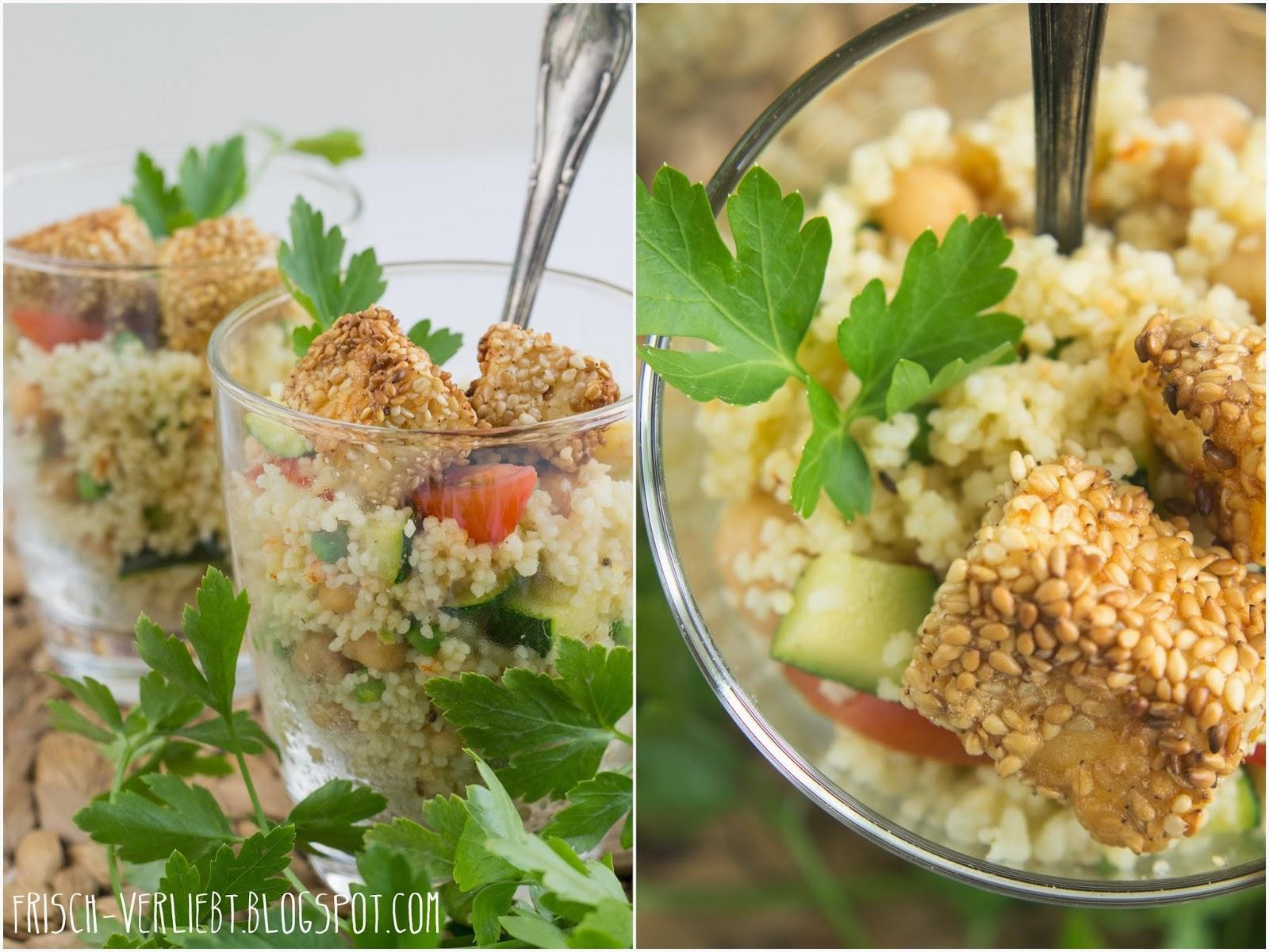 let 39 s cook together couscous salat mit paniertem feta w rzigem joghurt dressing frisch. Black Bedroom Furniture Sets. Home Design Ideas