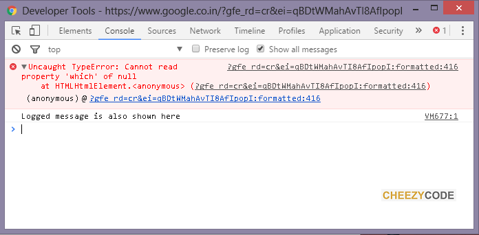 console tab of developer tools chrome
