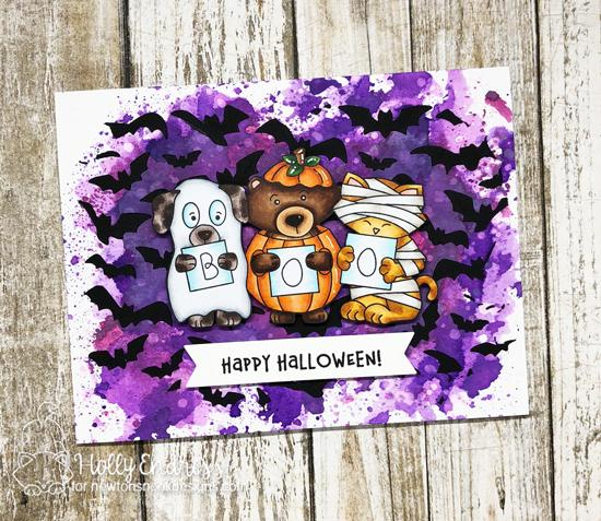 Halloween Card by Holly Endress | Halloween Trio Stamp Set and Die Set  and Flying Bats Stencil by Newton's Nook Designs #newtonsnook #handmade