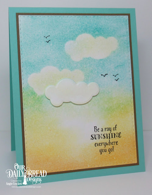 ODBD Hello Sunshine, ODBD The Waves on the Sea, ODBD Custom Clouds and Raindrops Dies, ODBD Custom Stitched Rectangles Dies, Card Designer Angie Crockett