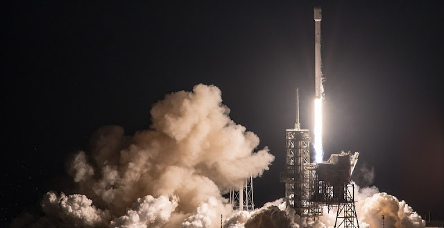 SpaceX's Falcon 9 rocket with the EchoStar 23 communications satellite soars out of Kennedy Space Center's Launch Complex 39A. This was the first all-commercial flight from this historic pad. Photo Credit: SpaceX