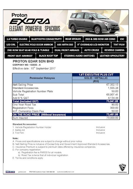 Senarai Harga Proton Terkini -  Proton Exora, Skim Graduan, Full Loan, 0 Down Payment