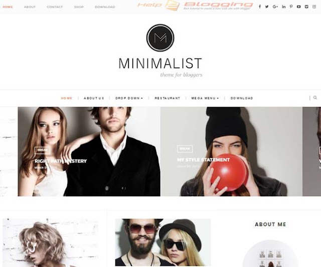 Minimalist Responsive White Blogger Template Download