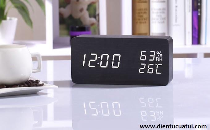 Đồng hồ Led gỗ để bàn Nhiệt độ - Độ ẩm