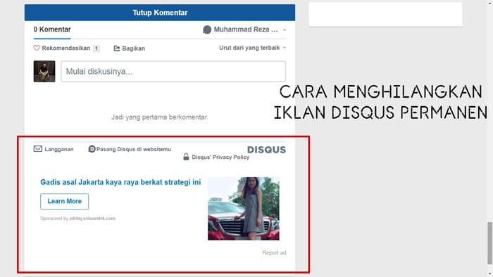2 Cara Menghilangkan Iklan Disqus Secara Permanen Pada Blog