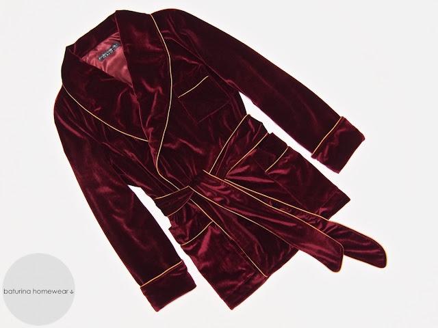 Mens red velvet smoking jacket robe