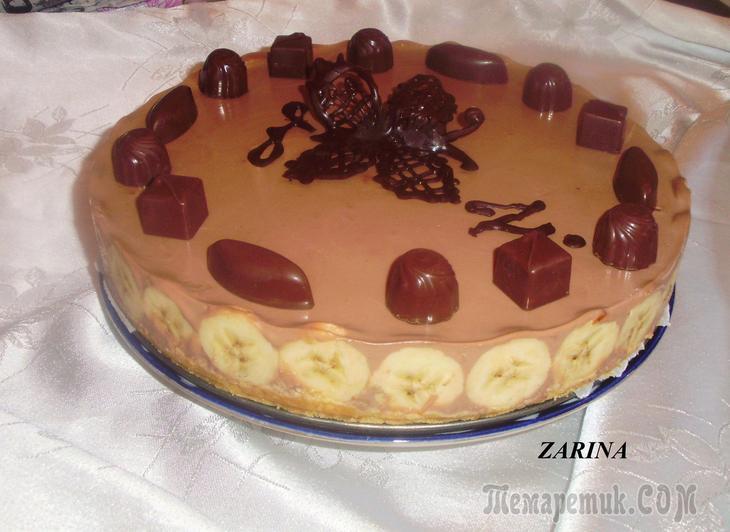 шоколадно банановый торта без выпечки с фото