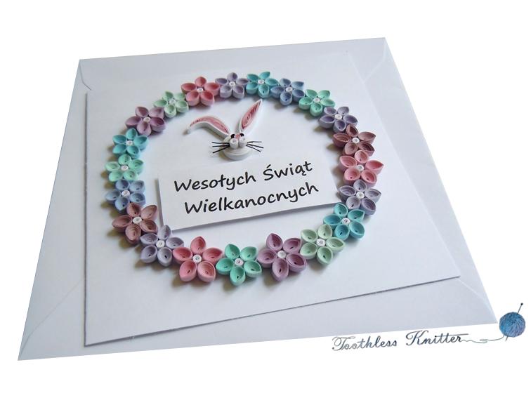 Easter Card with Flower Wreath and Bunny/ Kartka Wielkanocna z Wieńcem Kwiatowym i Zajączkiem