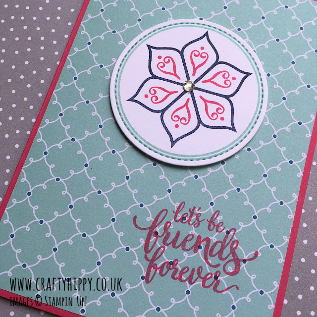 Beautiful card made using Melon Mambo Cardstock and Eastern Beauty stamp set by Stampin' Up!
