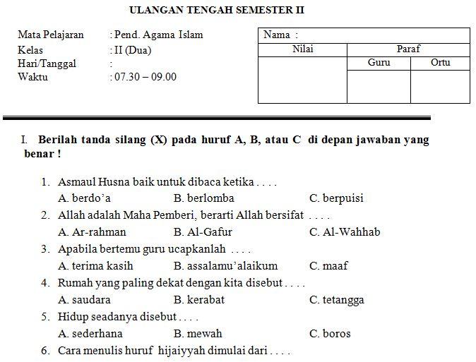 Download Contoh Soal SD/MI Kelas II Mata Pelajaran Pendidikan Agam Islam Semester 2 Format Microsoft Word