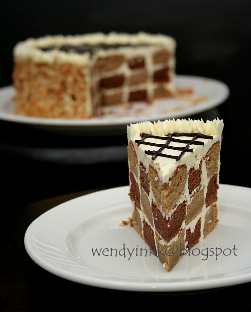 Table For 2 Or More Mocha Checkerboard Cake