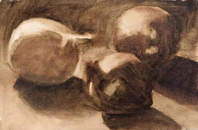 underpainting for still life study of onions Mar-8-2019