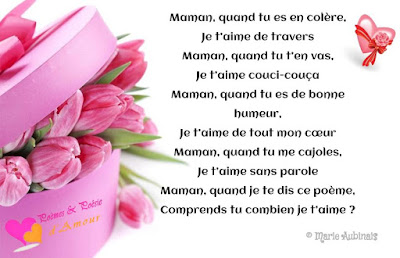 Très jolie poème pour maman sur une belle image